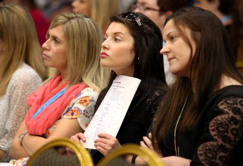 Delegates Caitriona Gillespie, with Louise O Donoghue and Aoife Breathnach, all from the Tallaght branch pictured at the Irish National Teachers' Organisation (INTO) annual congress at the West County hotel in Ennis. Pic Frank Mc Grath