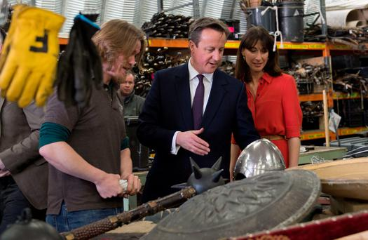 Prime Minister David Cameron and his wife Samantha visit the Titanic Studios in Belfast, where they saw the film sets for the TV drama Game of Thrones. Photo: Stefan Rousseau/PA Wire