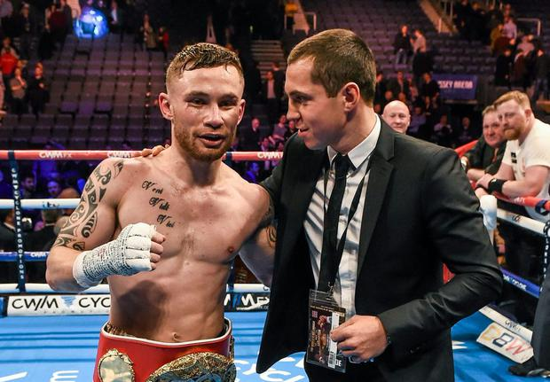 IBF Super-Bantamweight Champion Carl Frampton, left, and WBA Super-Bantamweight Champion Scott Quigg. The World is Not Enough, Odyssey Arena, Belfast, Co. Antrim. Picture credit: Ramsey Cardy / SPORTSFILE