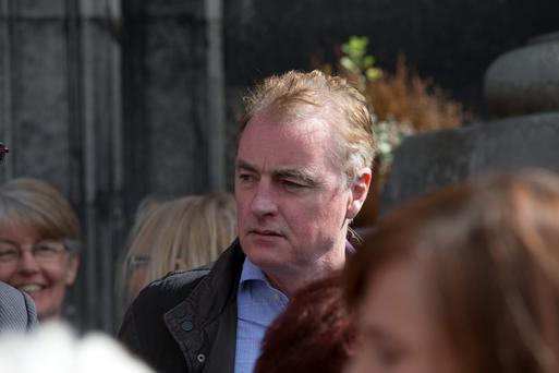 Dave Fanning at the funeral mass of journalist John 'George' Byrne at Saint Nicholas of Myra Church in Francis Street, Dublin. Photo: Mark Condren