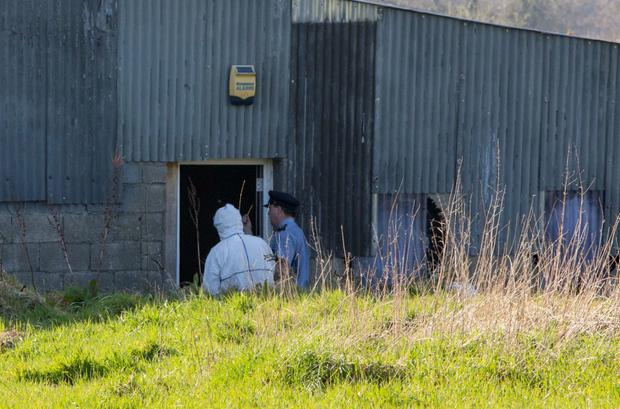 Gardai at the scene where the body was discovered in Kiloughter County Wicklow. Photo:Mark Condren