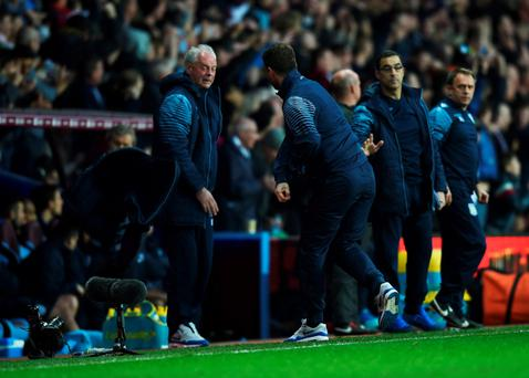 Aston Villa manager Tim Sherwood throws his jacket in celebration as Christian Benteke of Aston Villa scores their first and equalising goal