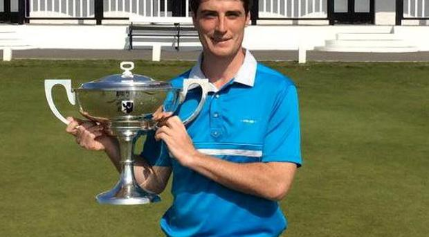 Dermt McElroy collects his West of Ireland trophy