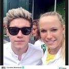 Niall Horan with Caroline Wozniacki at Wimbledon