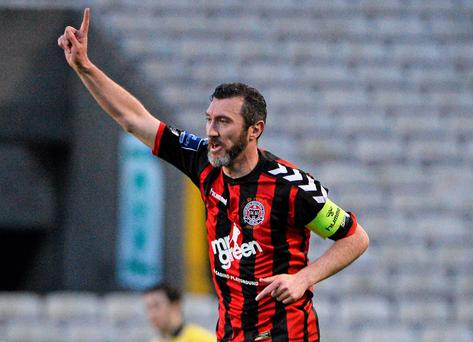 Jason Byrne celebrates after scoring Bohemians' equalising goal against Longford Town at Dalymount Park