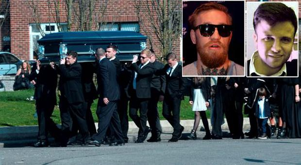 Conor McGregor (inset left) who attended the funeral of Paul Kavanagh (inset right) yesterday