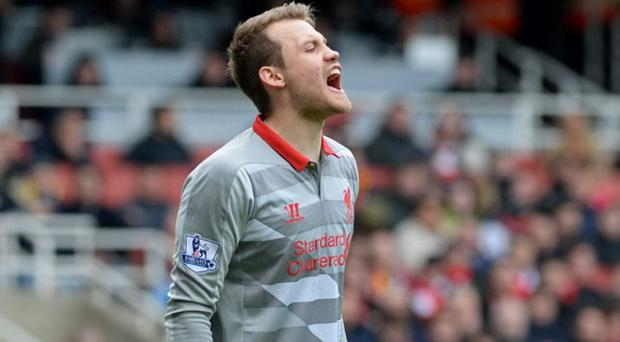Liverpool's Simon Mignolet shows his frustration against Arsenal