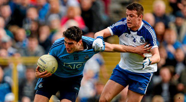 Bernard Brogan, Dublin, in action against Ryan Wylie, Monaghan, Allianz Football League, Division 1, Round 7, Monaghan v Dublin. St Tiernachs Park, Clones, Co. Monaghan