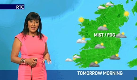 Jean Byrne presenting the weather on RTE News