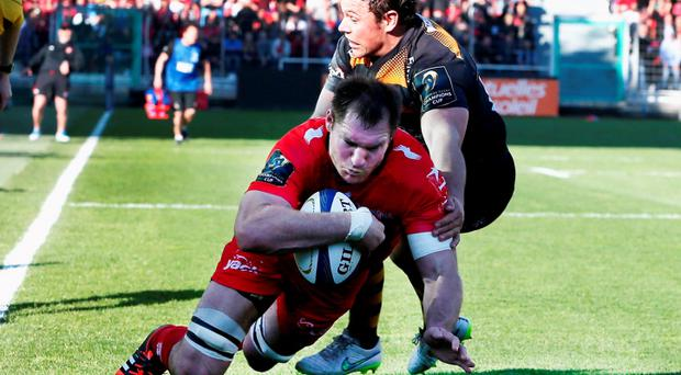 Ali Williams of Toulon dives over to score a last minute try during the European Rugby Champions Cup quarter final match between RC Toulon and Wasps at the Felix Mayol Stadium but should he have been on the pitch