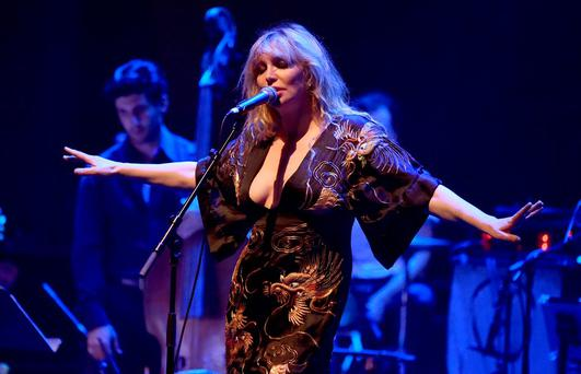 LOS ANGELES, CA - APRIL 07: Musician Courtney Love performs onstage during The David Lynch Foundation's DLF Live Celebration of the 60th Anniversary of Allen Ginsberg's