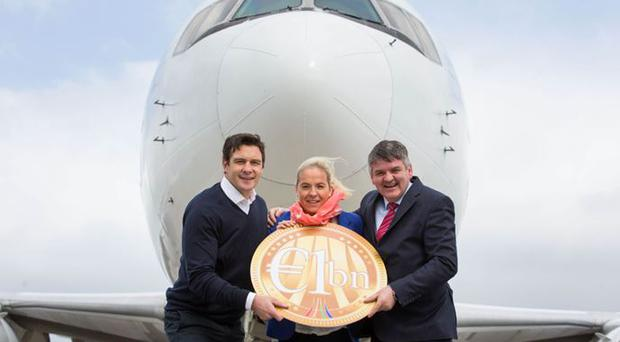 Former Ireland international David Wallace, 2013 ireland wone's Grand Slam winning captain and Neil Pakey, CEO of Shannon Airport