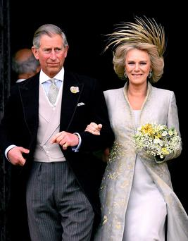 09/04/05. Britain's Prince of Wales, and Camilla the Duchess of Cornwall, leaving St George's Chapel, Windsor, following the blessing of their wedding. Photo: Alastair Grant/PA Wire