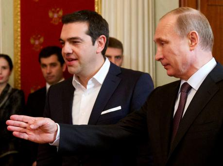 Russian President Vladimir Putin welcomes Greek Prime Minister Alexis Tsipras to Moscow - the pair have agreed to develop closer trade links