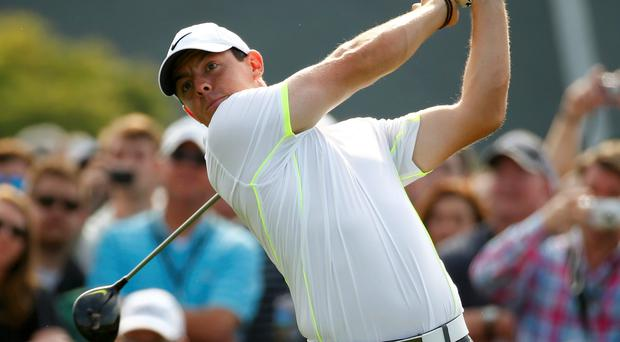 Tournament favourite Rory McIlroy during practice at Augusta yesterday