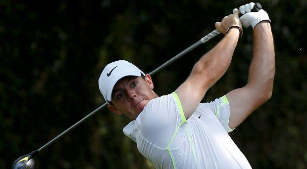 Rory McIlroy of Northern Ireland hits a driver off the second tee during his practice round ahead of the 2015 Masters at Augusta National Golf Course in Augusta, Georgia April 8