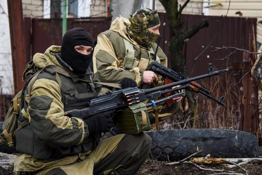 Russia-backed rebels take positions on the outskirts of Donetsk in eastern Ukraine Credit: Mstyslav Chernov)