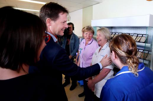 Leader of the Liberal Democrats Nick Clegg meets patients and staff at Bodmin Community Hospital in Cornwall. Photo: Steve Parsons/PA Wire