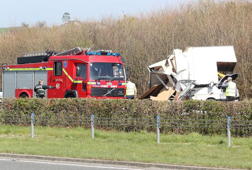 The scene of the accident in the southbound lane of the M1 north of Drogheda.