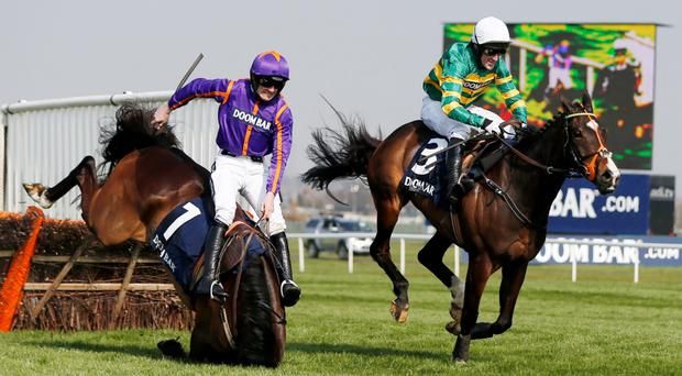 Arctic Fire ridden by Ruby Walsh (L) falls at the last before Jezki ridden by Tony McCoy go on to win the Doom Bar Aintree Hurdle Action Images via Reuters / Andrew Boyers