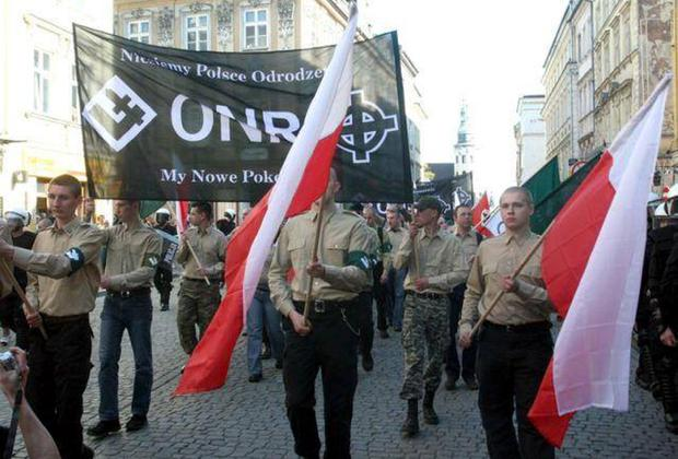 Members of Ruch Narodowy marching through the streets