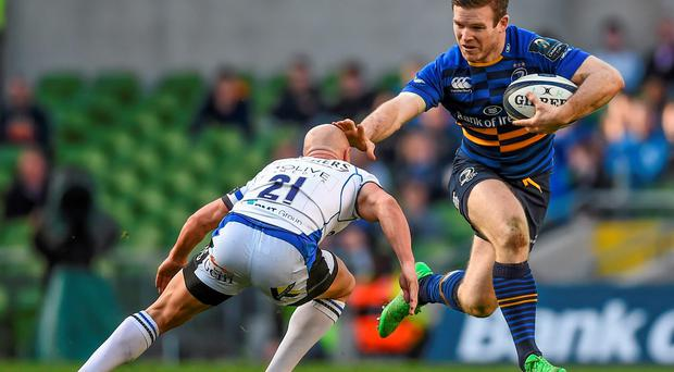 Gordon D'Arcy holds off Peter Stringer during their European Rugby Champions Cup Quarter-Final, Leinster v Bath last weekend at the Aviva Stadium (Stephen McCarthy / SPORTSFILE)
