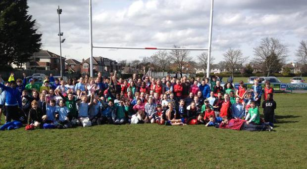 On a crisp sunny Wednesday morning in Clontarf FC, over 160 5th and 6th class students from four of the local primary schools competed in a tag rugby blitz