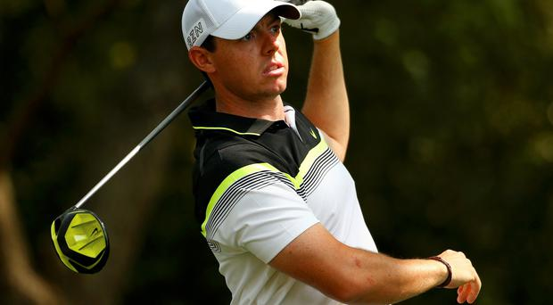 Rory McIlroy of Northern Ireland watches his drive off the second tee during first round play of the Masters golf tournament at the Augusta National Golf Course, Georgia