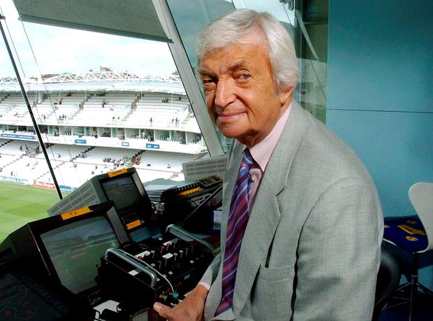 Channel 4 cricket presenter Richie Benaud in his commentary box its his 500th test as a player/presenter at Lords.