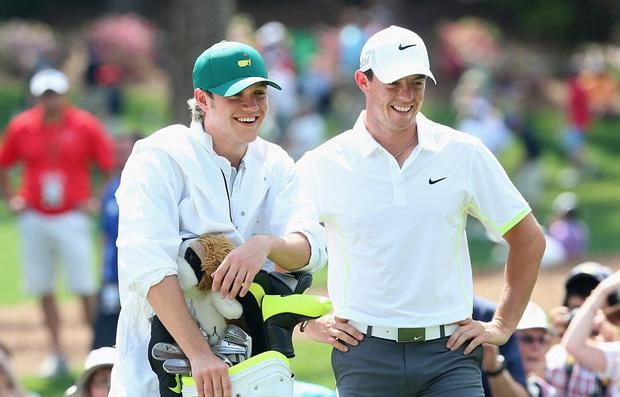 Niall Horan (left) and Rory McIlroy (right) at the US Masters in Augusta