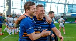 Leinster's Gordon D'Arcy and Jimmy Gopperth celebrate after the game. European Rugby Champions Cup Quarter-Final, Leinster v Bath. Aviva Stadium, Lansdowne Road, Dublin. Picture credit: Brendan Moran / SPORTSFILE
