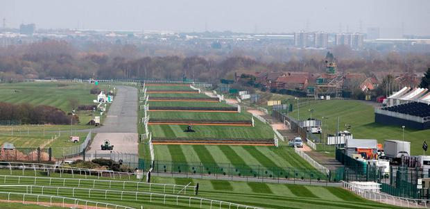A view of the course ahead of the Crabbies Grand National at Aintree Racecourse