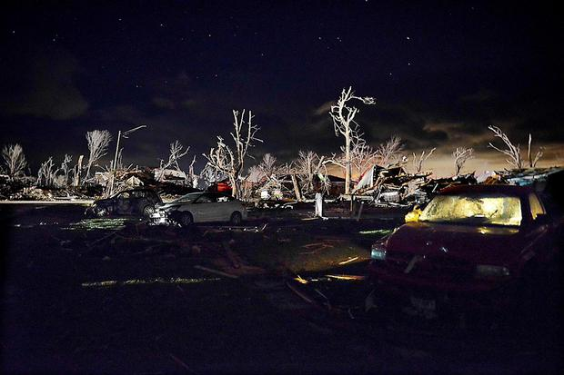Damage after a tornado struck the small town of Fairdale Ill. (AP Photo/Daily Herald, John Starks)