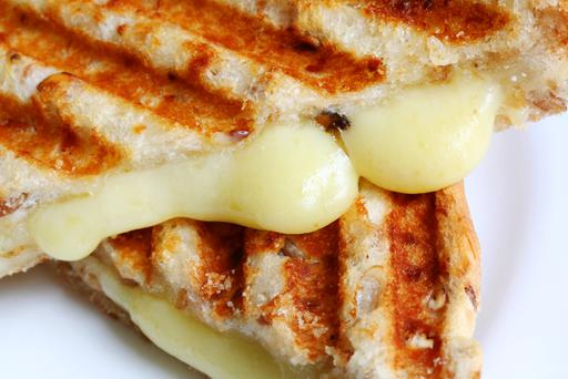 Melting cheese in a grilled cheese sandwich