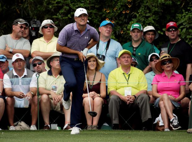 Jordan Spieth watches his tee shot on the 14th hole during the second round of the Masters golf tournament Friday, April 10, 2015, in Augusta, Ga. (AP Photo/Chris Carlson)