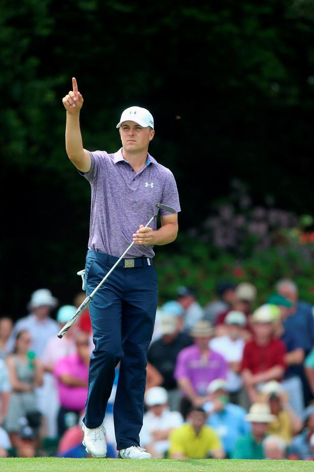 AUGUSTA, GA - APRIL 10: Jordan Spieth of the United States walks across the 15th green during the second round of the 2015 Masters Tournament at Augusta National Golf Club on April 10, 2015 in Augusta, Georgia. (Photo by Andrew Redington/Getty Images)