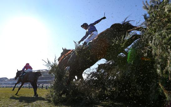 Soll jumps The Chair during the 2013 Grand National at Aintree