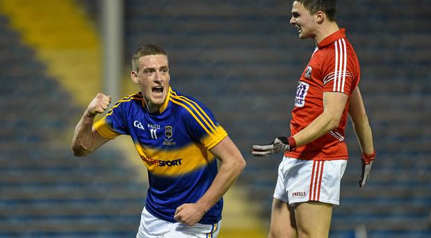 Ian Fahey, Tipperary, celebrates scoring a goal