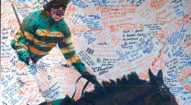 Punters' messages on a tribute wall for AP McCoy at Aintree