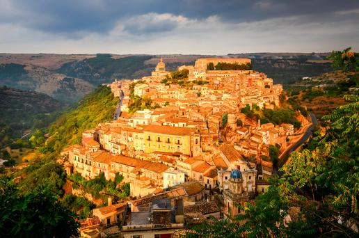 View of beautiful village Ragusa ibla at sunset, Sicily, Italy