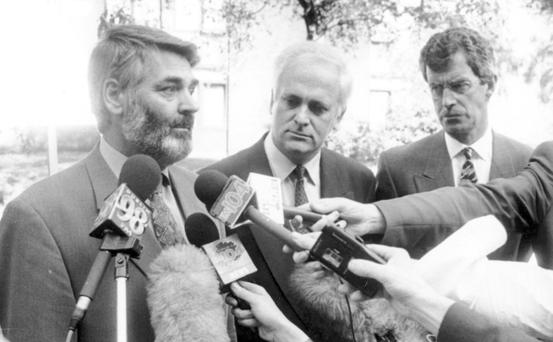 Proinsias De Rossa, John Bruton and Dick Spring were known as the Rainbow Coalition after Democratic Left, Fine Gael and Labour shared power in 1994 following the collapse of the Fianna Fail-Labour coalition.