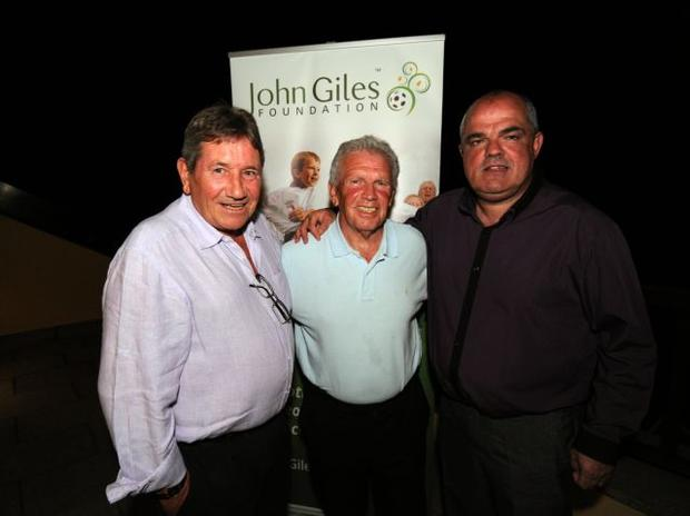 THREE AMIGOS: Ray Treacy, John Giles and Pat Duffy relax after a successul completion of the John Giles Golf Classic at Hollystown Golf Club last Wednesday.