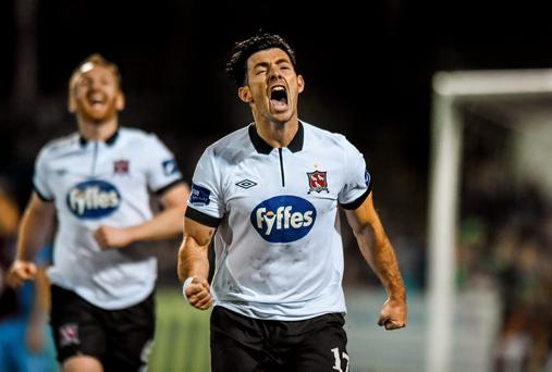 Richie Towell celebrates after scoring the winner for Dundalk at Oriel Park. Photo: Paul Mohan / SPORTSFILE