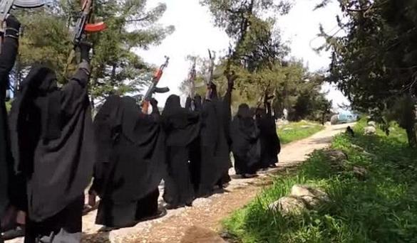 Some 45 women are seen training in the video