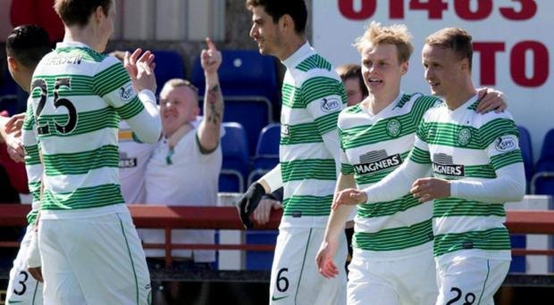 Celtic's Leigh Griffiths celebrates scoring his sides opening goal against Inverness. Jeff Holmes/PA Wire. EDITORIAL USE ONLY