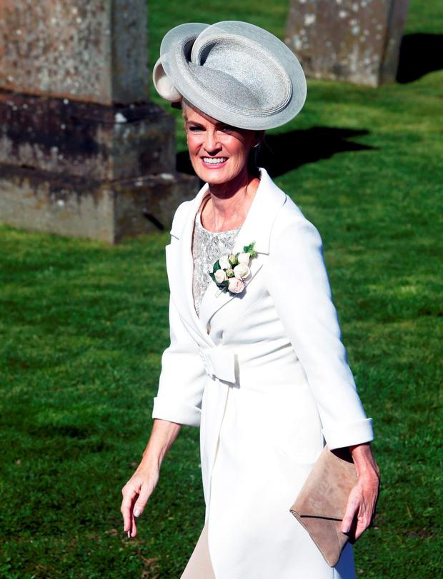 Judy Murray arrives for the wedding of her son and British tennis number one Andy Murray to his long-term girlfriend Kim Sears at Dunblane Cathedral