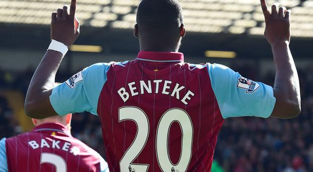 Aston Villa striker Christian Benteke celebrates after scoring against Tottenham Hotspur at White Hart Lane