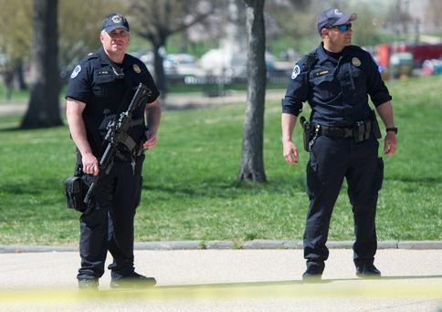 US Capitol Police respond to reports of a shooting at the US Capitol in Washington, DC, April 11, 2015. AFP PHOTO / SAUL LOEBSAUL LOEB/AFP/Getty Images