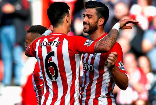 Southampton's Jose Fonte and Graziano Pelle celebrate