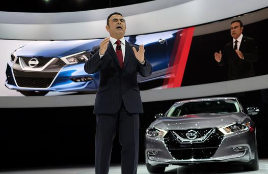 Carlos Ghosn, Chairman and CEO of Nissan, presents the 2016 Nissan Maxima Platinum during the press preview of the 2015 New York International Auto Show at the Jacob Javits Center in New York on April 2, 2015. AFP PHOTO/JEWEL SAMAD (Photo credit should read JEWEL SAMAD/AFP/Getty Images)